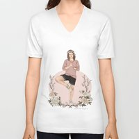 coconutwishes V-neck T-shirts featuring Peaceful by Coconut Wishes