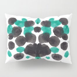 Turquoise Green And Black Inkblot Bubble Pattern Rorschach Test Pillow Sham