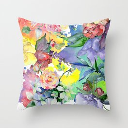 Watercolor Floral Pattern in Pastel Summer Colors Throw Pillow