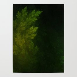 Beautiful Fractal Pines in the Misty Spring Night Poster