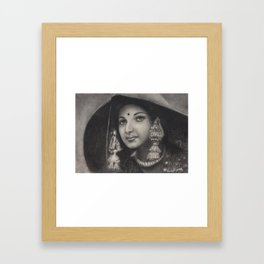 Lambani, Indian Tribal Woman in special costume - in Charcoal Painting Framed Art Print