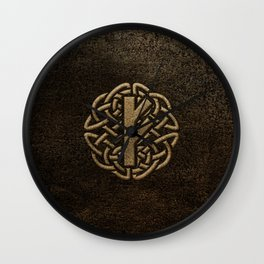 Fehu Rune Ancient Metal Embossed Amulet Wall Clock