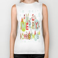 merry christmas Biker Tanks featuring MERRY CHRISTMAS by Acus