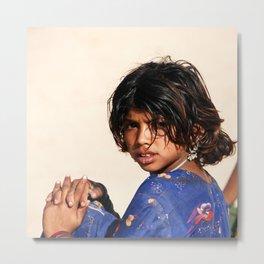 Girl in the Thar Desert Metal Print