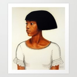 African American Masterpiece ''Harlem Girl' portrait painting by Winold Reiss Art Print