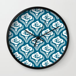 Calla Lily Pattern Peacock Blue Wall Clock