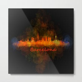 Barcelona City Skyline Hq _v4 Metal Print