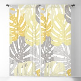 Yellow monstera deliciosa leaves Blackout Curtain