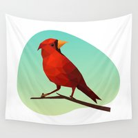 low poly Wall Tapestries featuring Low-poly Red Bird by fortyfive
