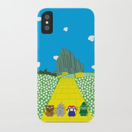 Pengwins that are following a brick road that is yellow iPhone Case