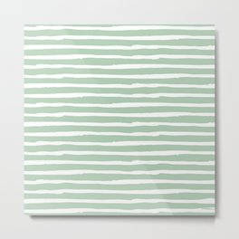 Elegant Stripes Pastel Cactus Green and White Metal Print