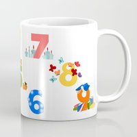 numbers Mugs featuring numbers by Alapapaju