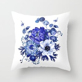 China Blue Porcelain, Asia, Peony, Flower, Floral, Cyan Throw Pillow