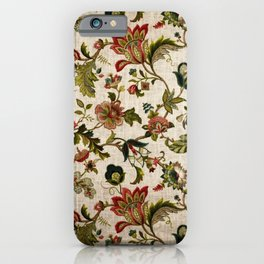 Red Green Jacobean Floral Embroidery Pattern iPhone Case