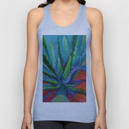 WESTERN DESERT BLUE AGAVE CACTUS in  RED-TEAL Unisex Tank Top
