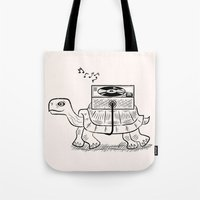 tortoise Tote Bags featuring Tortoise Wax by Oliver Lake