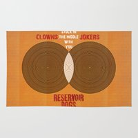 reservoir dogs Area & Throw Rugs featuring Reservoir Dogs - Venn Diagram : Stuck in the Middle with you by Chubbybuddhist