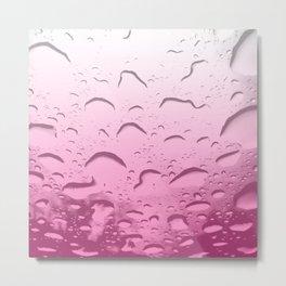 Water drops in Pink Metal Print