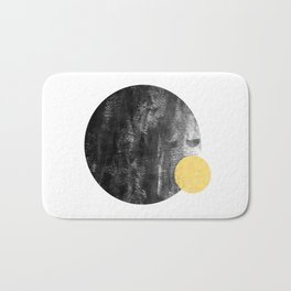 Ripley - abstract marble texture india ink painting minimal white and black with gold canvas art Bath Mat