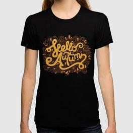 Hello Autumn handwritten lettering (brown) T-shirt