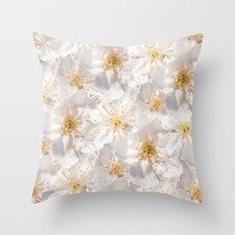 White Cherry Blossoms Pattern Throw Pillow