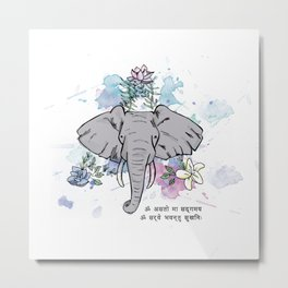 Elephants, Flowers & Mantras Metal Print