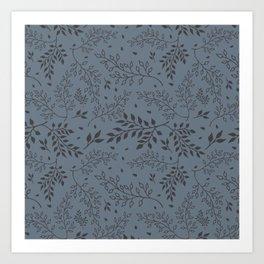 Leaves Illustrated Gray Art Print