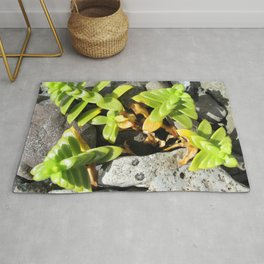 Watercolor Forb, Opposite Leaved Succulent 01, Borgarnes, Iceland Rug