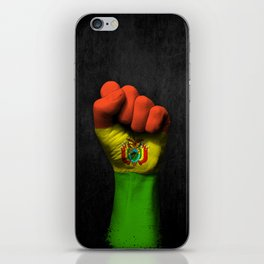 Bolivian Flag on a Raised Clenched Fist iPhone Skin