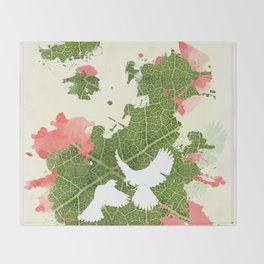 Leaf Bird Throw Blanket