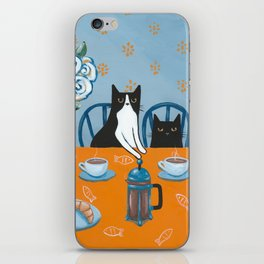 Cats and a French Press iPhone Skin