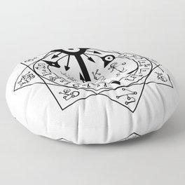 Invisible Sun Symbol on White Floor Pillow