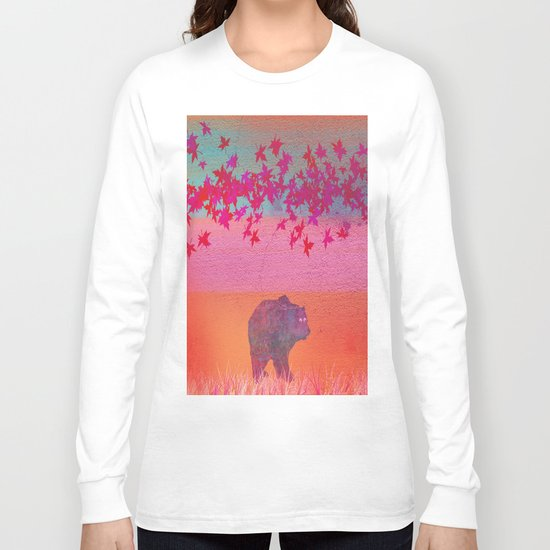 Little bear in the colorful field, leaf, colors, pink, blue, field, grass, bear Long Sleeve T-shirt