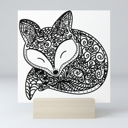 Black and White Mandala Fox Design Illustration Mini Art Print