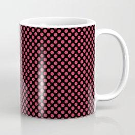 Black and Teaberry Polka Dots Coffee Mug