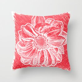White Flower On Crayon Red Throw Pillow