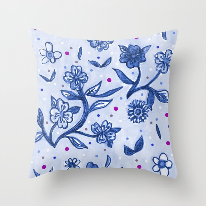indigo flor Throw Pillow