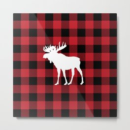 Red Buffalo Plaid Moose Metal Print