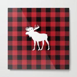 Red Buffalo Plaid Moose Metal Print