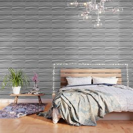 Simply Drawn Stripes in Midnight Black Wallpaper