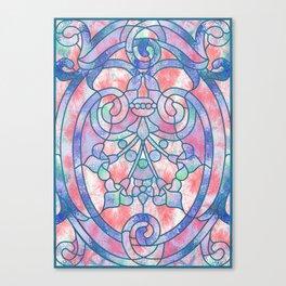 Art Nouveau Blue and Peach Batik Texture Canvas Print