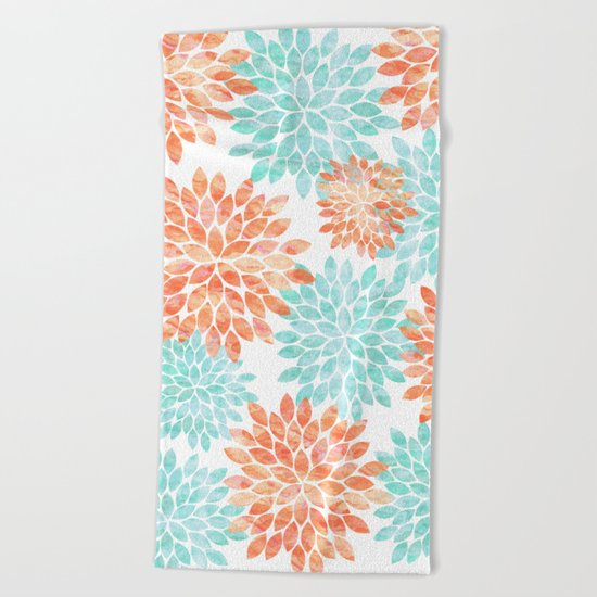aqua and coral flowers Beach Towel