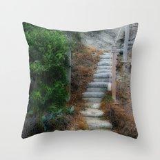 Beach Stairway Foliage Throw Pillow