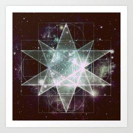 Galaxy Sacred Geometry : Stellated Icoshadron dark Art Print