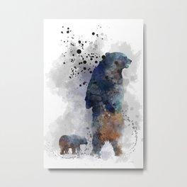 Bear and cub Metal Print