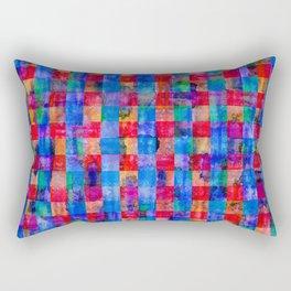 Weathered Plaid Hot Pink & Cobalt Blue Rectangular Pillow