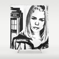tyler spangler Shower Curtains featuring Rose Tyler by Grace Thanda