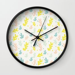 Yellow coral teal hand painted leaves polka dots Wall Clock