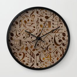 Golden pyrography  Musical notes pattern on wood Wall Clock