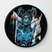hip hop Wall Clocks featuring Hip Hop Street Dance by ezmaya